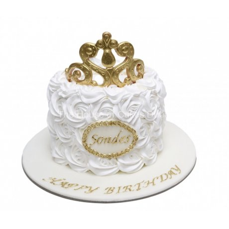 crown cake with cream - white 6