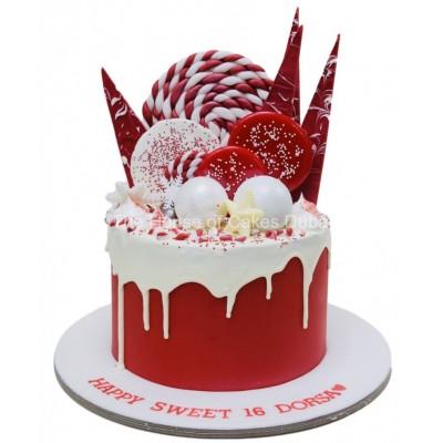 Red And White Xmas New Year Cake