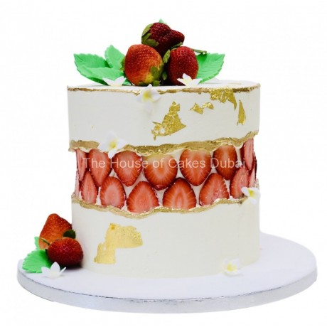 fault line cake with strawberries 6