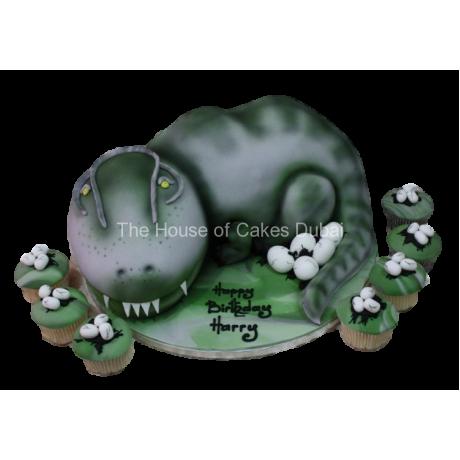 dinosaur cake and cupcakes 6