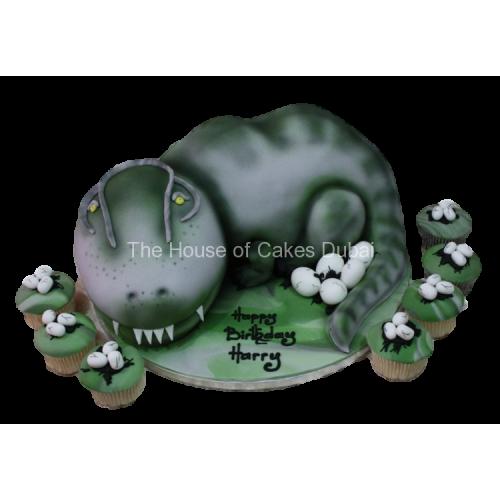 dinosaur cake and cupcakes 7