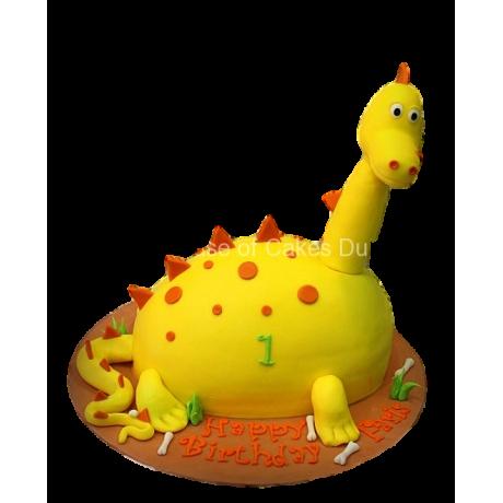 cute yellow dinosaur cake 6