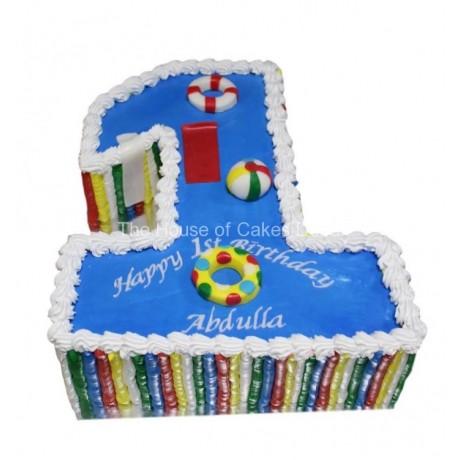 1st birthday cake swimming pool theme