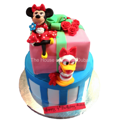 Peachy Daisy Duck Minnie Mouse Cake Personalised Birthday Cards Paralily Jamesorg
