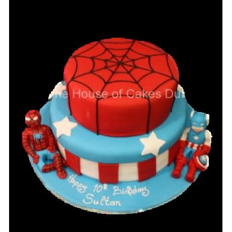 spiderman and captain america cake 6