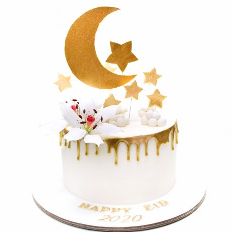 happy eid cake with stars and moon 6