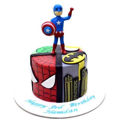 Superheroes and Captain America cake