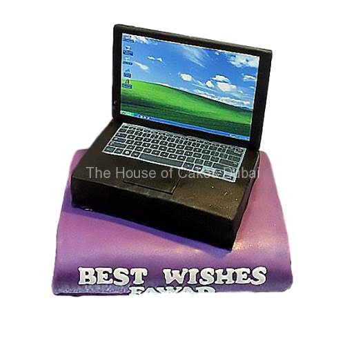 Farewell cake with laptop
