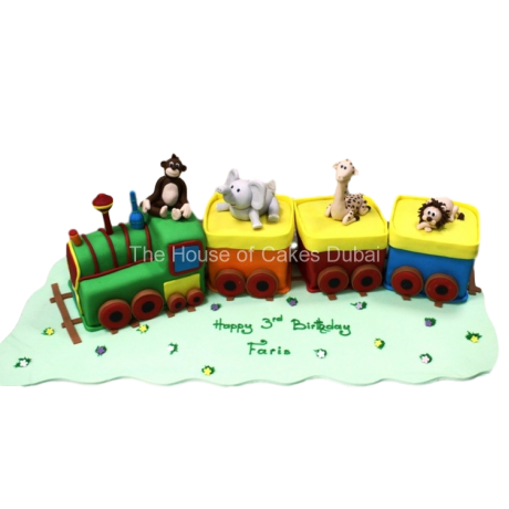 Animals train cake 2