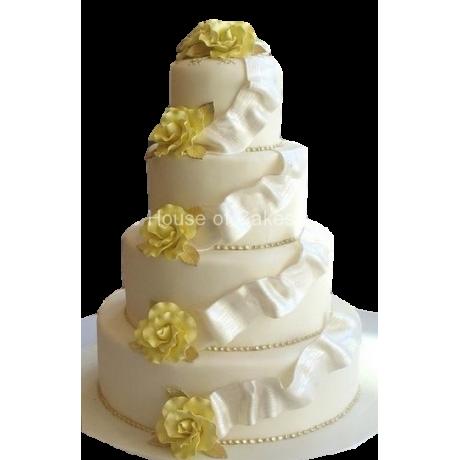 wedding cake white and yellow 6