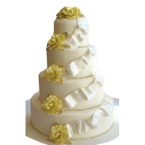 wedding cake white and yellow 7