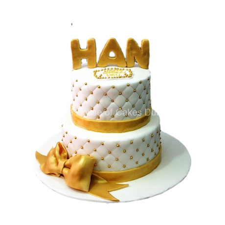 White and gold cake 8