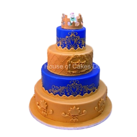 gold and blue cake 6