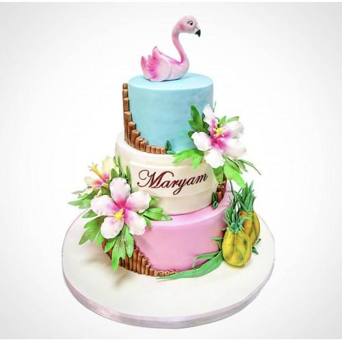 tropical hawaii theme cake with flamingo 7
